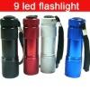 Colourful 9 LED Mini Torch Flashlight Lamp Aluminum For Camp Picnic Hiking
