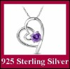 DLS925N028 Genuine 925 Sterling Silver Diamond Double Heart Shape Elegant Ladies Necklace