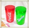 red and green coca plastic toothpick can holder