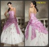 2012 taffeta ruffle embroidery white and pink prom dresses
