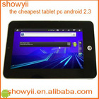 CHEAPEST 7 inch Infotmicmain frequency Android 2.3 G-sensor Tablet PC