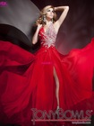 A Line Halter Crystal Beading Chiffon Red Long Prom Dresses /Gowns