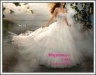 Semi-Cathedral Train qq210 Metallic Embroidery Net wedding dresses