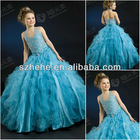 F2417 Fabulous waved puffy skirt shiny beaded baby girl christmas dresses