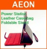 for ipad battery bag PU leather case ,with foldable stand 4400MAH ,Red/Black,USB to Dock,A grade leather,500 pcs for OEM order