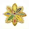 Gold thread flower embroidered applique