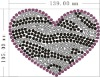 hot fix rhinestone motif zebra heart design