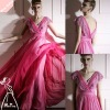 Newest Royal Pink V Neck Sequin Long Prom Dress&evenng dress
