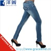 2012~2013 Latest Design Stretch Low Rise Ripped Thick Stitching Lady Skinny Jeans(GKC1010)