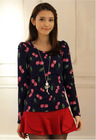 2013 new design pretty flower printed long sleeve blouse for winter