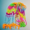 Hot promotional Tie dye colors Rosary Cross silicone power necklace