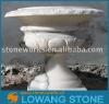 scalloped marble stone flower pot