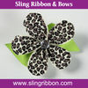 Leopard Print Flower Clips with Rhinestone