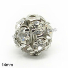 Factory directly sell 14mm rhinestone ball beads for bracelet making