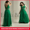 Best selling sexy V-neckline long green chiffon prom dresses 2012 new arrival