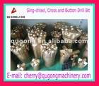 cross and single-chisel type rock drilling bits for mining