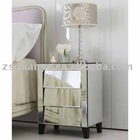 2012 New Arrival modern silver mirrored nightstand of 3 drawers, mirrored side table, mirrored furniture manufacturer