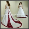 V-shaped collar cap sleeve red and white wedding dresses(JL10044)