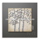 Silver tree leaf canvas art