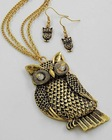 WLNE-5740-Antique Gold Tone Clear Accents Lead&nickel Compliant Metal Long Owl Pendant Necklace & Fish Hook Earring Set.