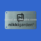 3D Custom Aluminum Metal Nameplates with Black Letters Concaved and Screw Holes