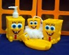 cartoon SpongeBob SquarePants halloween bathroom sets soap holder,bathing ball,toothbrush holder,lotion bottle