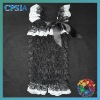 latest fashion black lace rompers with white lace trim for princess