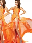 Vibrant Orange Strapless Ruched Bodice Large Beaded Appliqued Chiffon Evening Dress