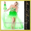 Tulle V-neck Beaded Ruffled Green Short Prom Dresses