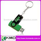 24 Color 2GB/4GB/8GB dark green cheap swivel usb flash drive with keychain