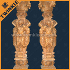 100% handcarved natural marble statue column