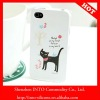 Lovely black cat printing white plastic hard case for apple iphone 4 case