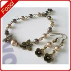 Antique brass,pearls elegant jewelry sets
