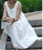 pure linen pregnant dress in white color