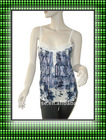 women`s Knitted printed tank top,lace neck tank tops