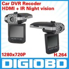 "2.5"" Car DVR HD199 5 million pixel CMOS sensor TFT LCD H.264 Video code HDMI output IR Night vision Ultra-wide 120-degree lens"