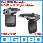 "2.5"" Car DVR HD199 5 million pixel CMOS sensor TFT LCD H.264 Video code HDMI output IR Night vision Ultra-wide 120-degree lens"