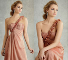 Discount One Floral Shoulder Pleated Bodice with Asymmetric Skirt Peach Bridesmaids Dress