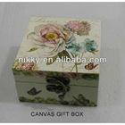 Vintage Floral series storage box, canvas & fabric storage box set, decorative small wooden boxes wholesale