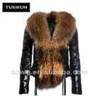 Fringed Delta short large fur collar black female small sheep's coat TFW006