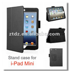 PU lichi Pattern protective case with stand for ipad mini in black