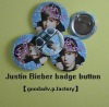 Canada star Justin Bieber pin badge (tinplate or plastic)