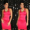 Red Sleeveless Cocktail Mini Dress With Sequin