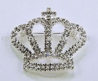 Silver Tone / Clear Rhinestone / Crown Brooch