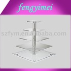 Square 5-tires clear acrylic cupcake stand/perspex cupcake display stand