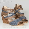 2012 lady Jeans upper wedges sandals shoes