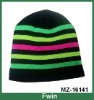 fashion candy color stripe knitted beanie hat