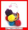 bright hair elastics with fuzzy ball
