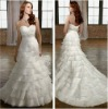 Girlish A-line Sweetheart White Tiered Organza with Jeweled Beading Wedding Gown Designer