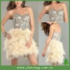 New arrival sweetheart beaded and feather short evening dress